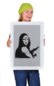 Постер Бэнкси. Мона Лиза с автоматом| Banksy. Mona Lisa with a gun