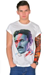 Футболка Постер Никола Тесла. Боуи   Nikola Tesla. Bowie
